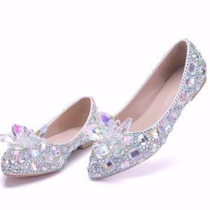 Shoes - Cinderella Flats Glass Slipper Shoes Sparkly BNIB